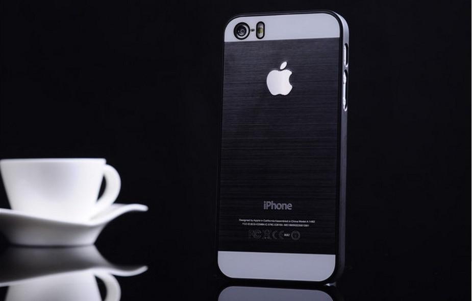 Чехол для iPhone 4, 4S, 5, 5S стальной расцветки черный цвет