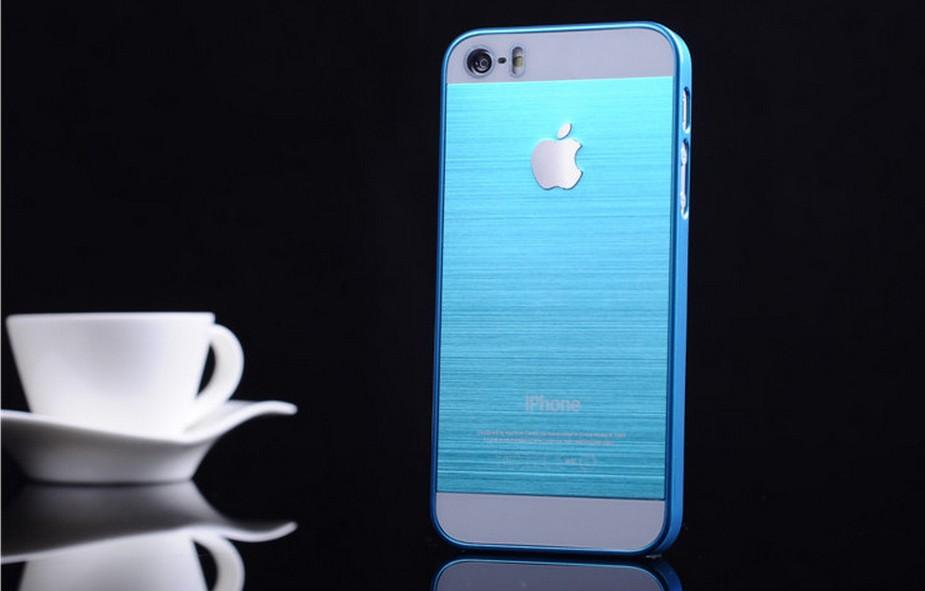 Чехол для iPhone 4, 4S, 5, 5S стальной расцветки голубой цвет