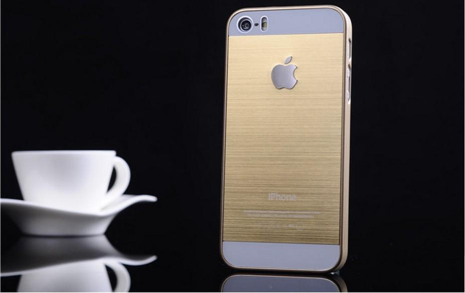 Чехол для iPhone 4, 4S, 5, 5S стальной расцветки золото