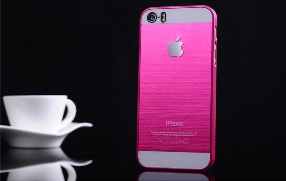 Чехол для iPhone 4, 4S, 5, 5S стальной расцветки розовый