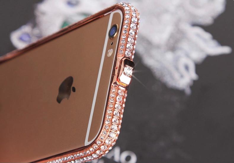 Чехол для iPhone 5, 6 ручной работы. Германская технология. Со стразами. Золото. Вид в деталях сверху.