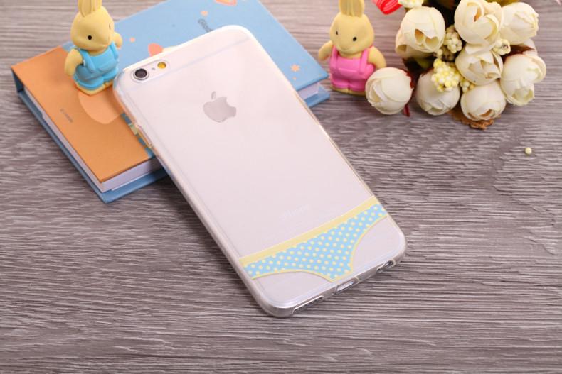 Чехлы трусики для iPhone 6 plus голубые в горошек женские