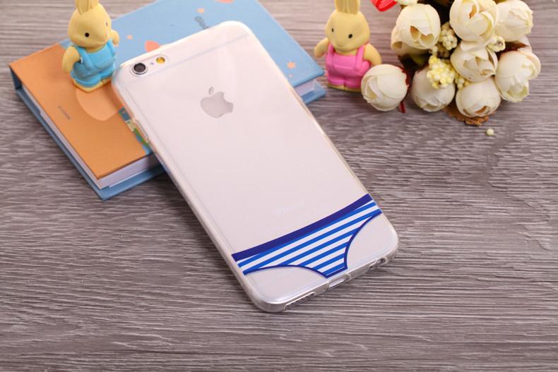 Чехлы трусики для iPhone 6 plus голубые полосатые женские