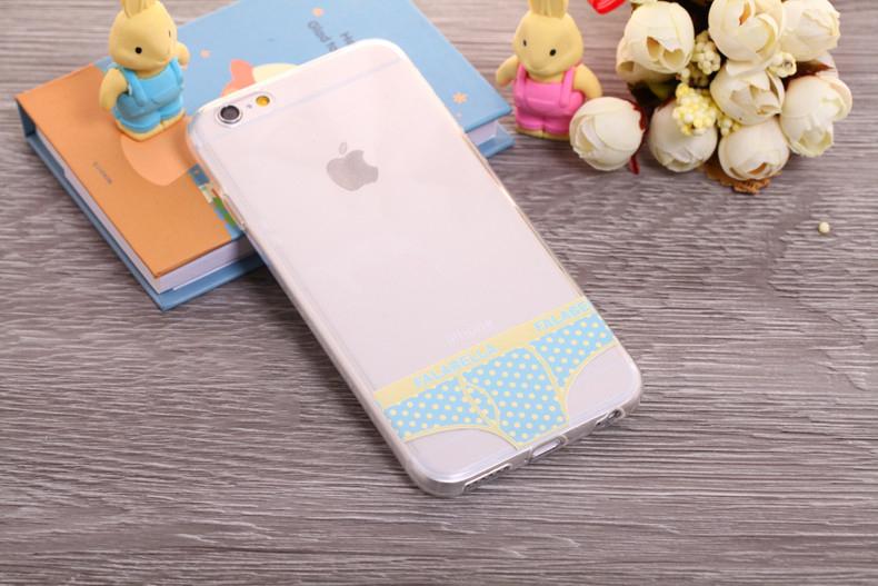 Чехлы трусики для iPhone 6 plus голубые в горошек мужские