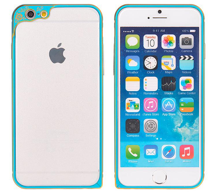 Бампер для iPhone 6 и 6plus с защитой камеры - голубой бампер