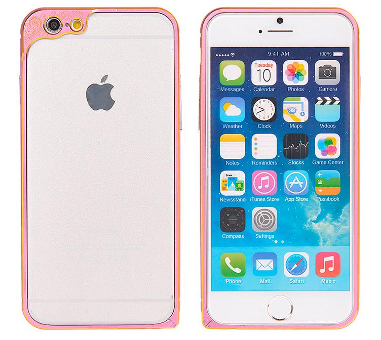 Бампер для iPhone 6 и 6plus с защитой камеры - розового цвета бампер