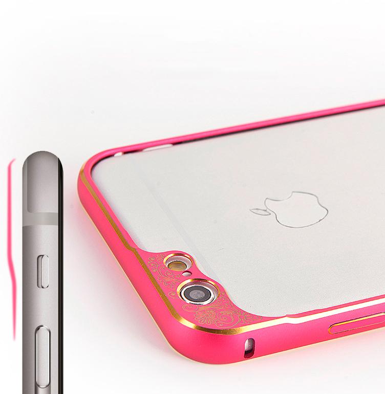 Бампер для iPhone 6 и 6plus с защитой камеры - розовый бампер - просмотр ближе