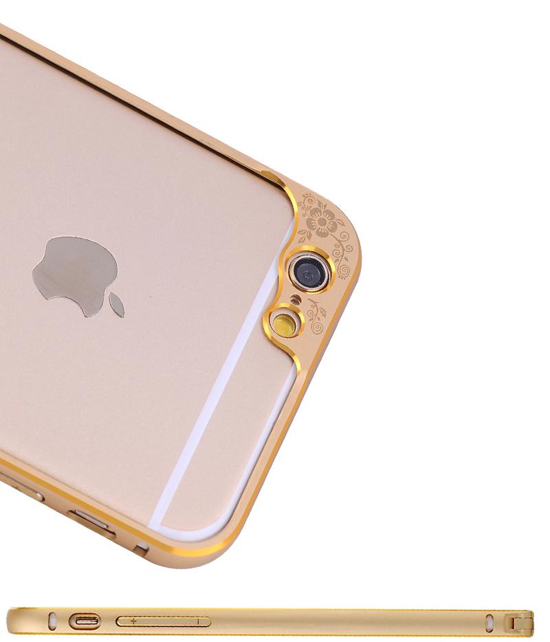 Бампер для iPhone 6 и 6plus с защитой камеры - бампер золотого цвета просмотр вблизи