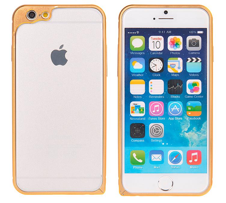 Бампер для iPhone 6 и 6plus с защитой камеры - бампер золотого цвета