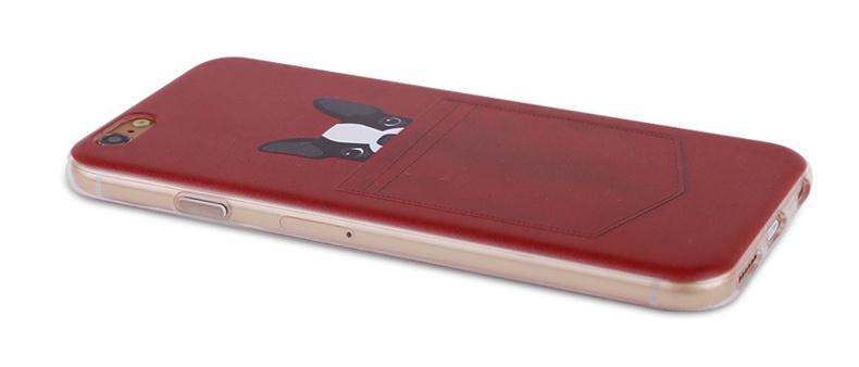 Чехол с собачками для iPhone 6 красный