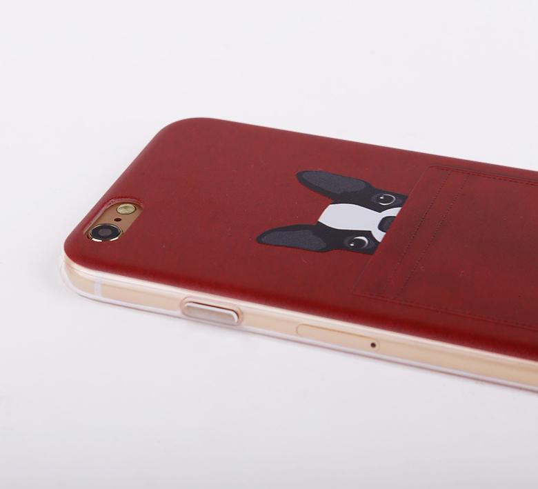 Чехол с собачками для iPhone 6 красный в масштабе побольше