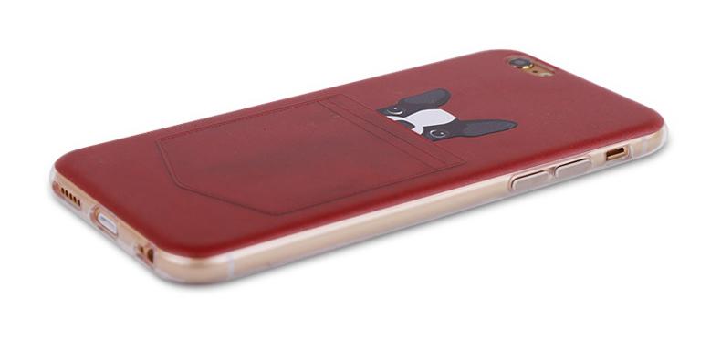 Чехол с собачками для iPhone 6 красный кармашек