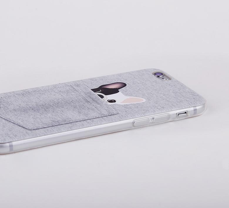 Чехол с собачками для iPhone 6 серый кармашек в увеличенном варианте