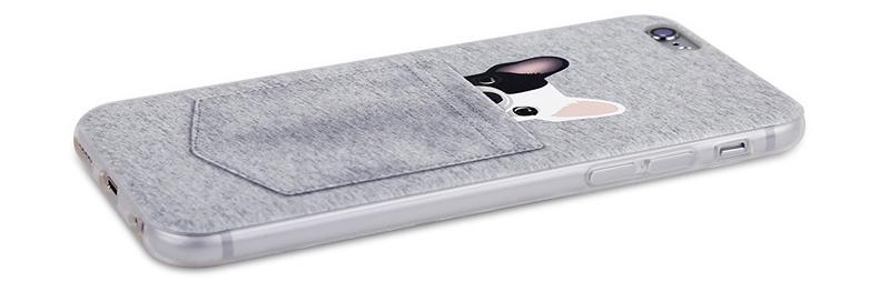 Чехол с собачками для iPhone 6 серый кармашек