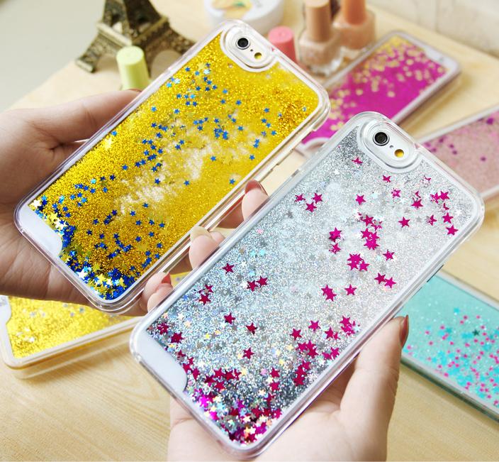 Чехол с блестками на iPhone со звездочками