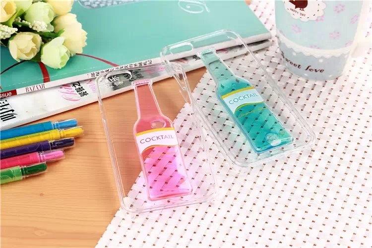 Гибкий чехол для Вашего iPhone 5, 6 с бутылкой синий и розовый