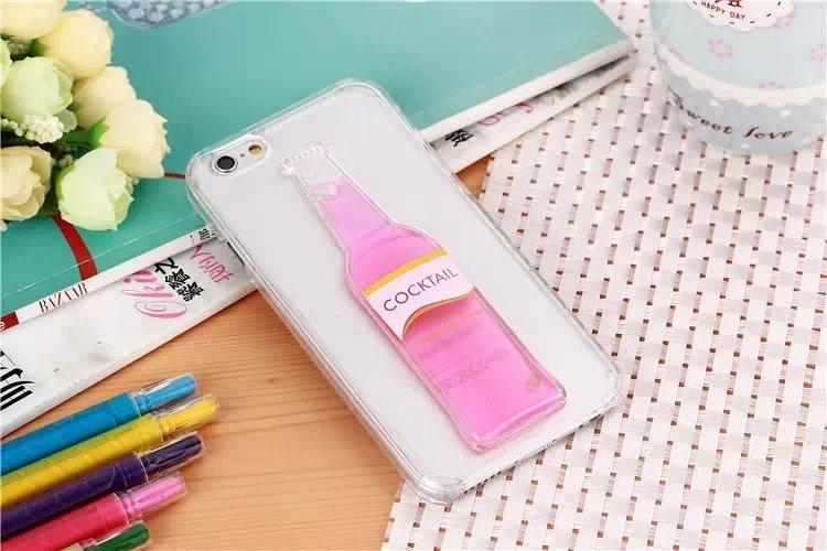 Гибкий чехол для Вашего iPhone 5, 6 с бутылкой розового цвета