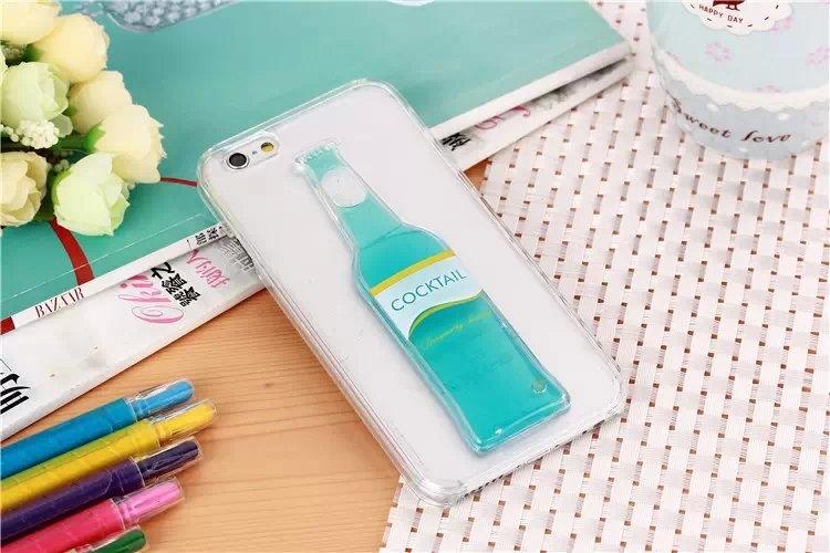 Гибкий чехол для Вашего iPhone 5, 6 с бутылкой синего цвета