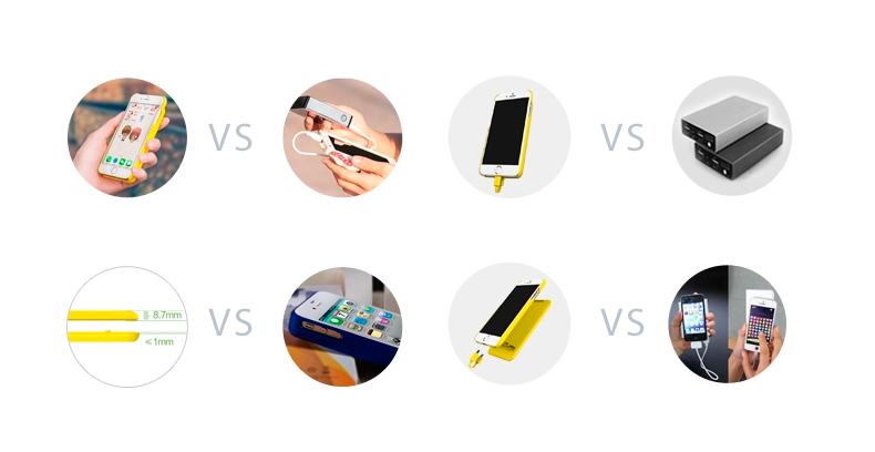 Портативное зарядное устройство и чехол - Power bank для iPhone 6 сравнение