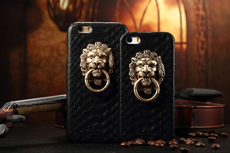 Чехол с золотым львом и кольцом для iPhone 6 и iPhone 6 plus