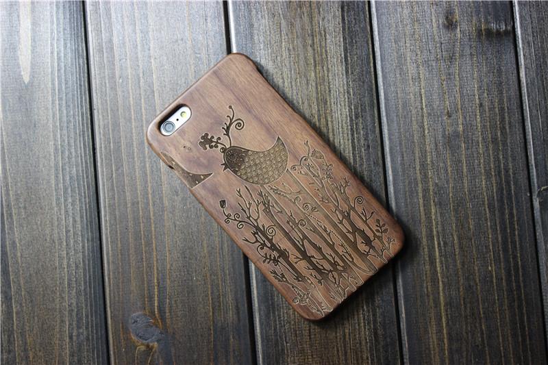 Деревянный чехол с рисунком птицы для iPhone