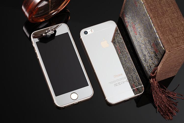 Зеркальный чехол с закаленным покрытием для iPhone серебрянного цвета в декоре