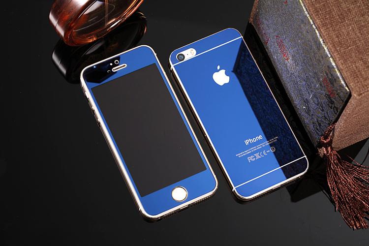 Зеркальный чехол с закаленным покрытием для iPhone синего цвета в декоре