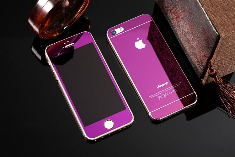 Зеркальный чехол с закаленным покрытием для iPhone сиреневого цвета в декоре