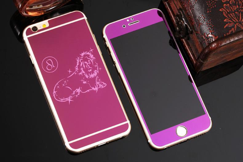 Зеркальный чехол для iPhone 6 знаки зодиака - Лев фиолетовый