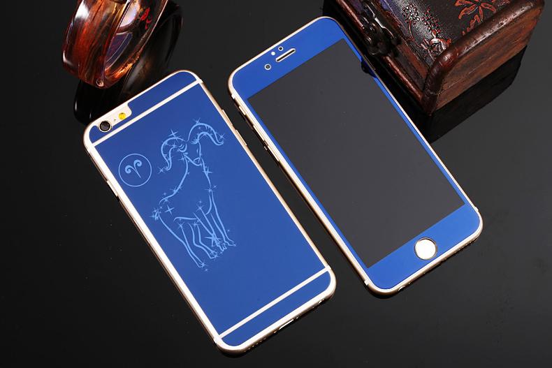 Зеркальный чехол для iPhone 6 знаки зодиака - Овен синий