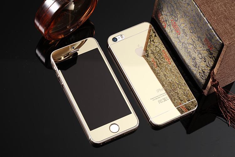 Зеркальный чехол с закаленным покрытием для iPhone золотого цвета в декоре